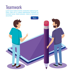 digital technology with teamwork people isometric vector illustration design
