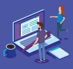 digital technology with teamwork people isometric vector illustration design
