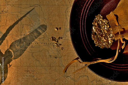 Oil Lamp Gold Pouch Nuggets Pan And Map