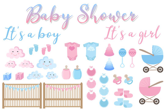 Vector image of an invitation card for baby shower. Set of items for greeting cards for newborn boy and girl. Illustration for boys and girls in blue and pink shades with inscriptions.