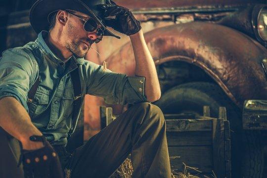 Caucasian Rancher in the Barn