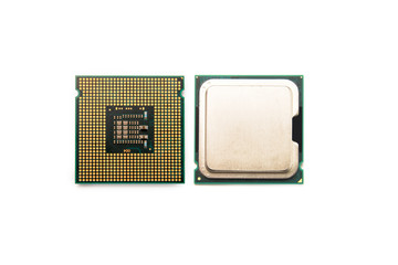 isolated CPU font and back side on white background
