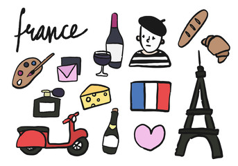 Symbols of France collection illustration