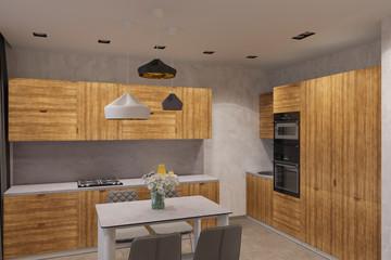 3d render Interior design in Scandinavian style kitchen