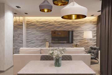 3d render Interior design in Scandinavian style, living room