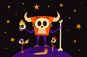 King Monster Skeleton Mask, skull head flowers fire and funny worm with baseball cap. Happy Halloween Banner Holiday Concept Vector Illustration
