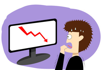 Panic businessman in stock market, vector art