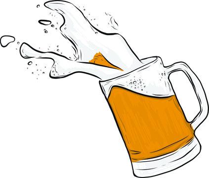Vector beer splashing out of mug