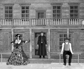 3D Illustration of Wild West Saloon with Cowboys and Madam in Black and White
