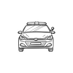 Police car lights and siren hand drawn outline doodle icon. Police, cop, emergency sound, help, criminal concept. Vector sketch illustration for print, web, mobile and infographics on white background