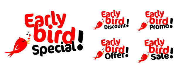 Early bird promo, early bird special, early bird sale, early bird offer, early bird discount