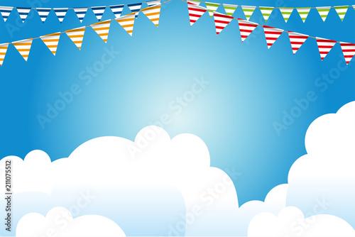 イラスト素材青空とカラフルな三角旗パーティーフラッグ横位置