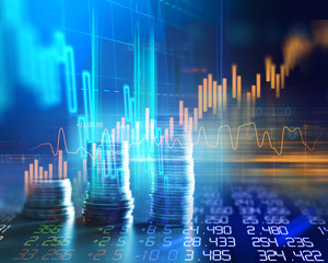 double exposure image of stock market investment graph and coins stack.