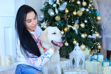 Happy female person wearing jeans skirt sitting with white labrador near Christmas tree. Concept of pets and celebrating New Year, interior design.