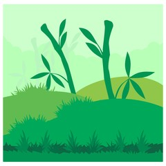 green bamboo forest grassland outdoor view landscape background