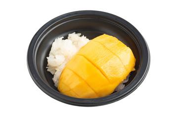 mango with sticky rice on white background
