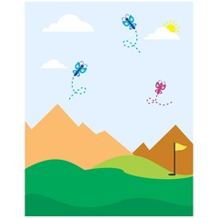 mountain golf yard meadow grassland outdoor view landscape background