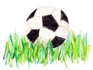Hand watercolor drawing of a football (soccer) ball on the green grass isolated on white. ESP 10 vector illustration.