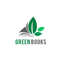 Green paper book logo with three leaf