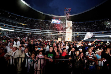 Supporters attend the closing campaign rally of Mexican presidential candidate Andres Manuel Lopez Obrador at the Azteca stadium, in Mexico City