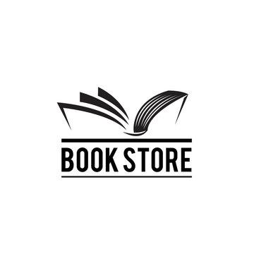 Classic book open logo, book store