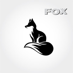 elegant Stand fox logo art with graceful tail