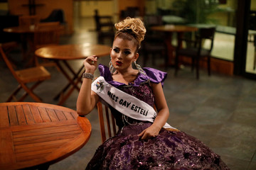 A contestant of Miss Gay Nicaragua 2018 sits at a hotel in Managua