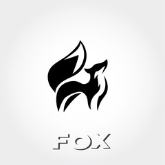 simple graceful standing fox logo