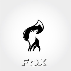 graceful stand fox logo with head fox negative space on tail