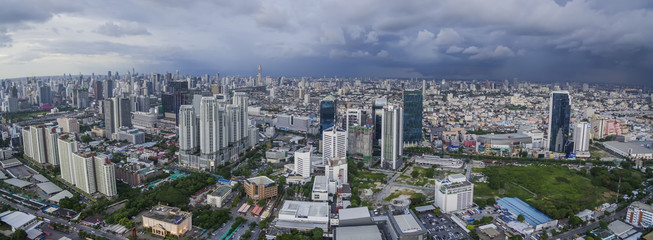 BANGKOK THAILAND - JUNE7,2017 : aerial view of bangkok skyscraper and newly modern business center at ratchadaphisek districk east of thailand capital township