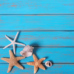 Summer beach seashore background starfish blue wood paint peeling