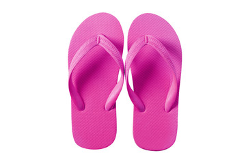 Flip flops bright pink isolated on white background