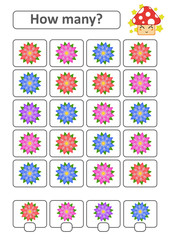 Counting game for preschool children for the development of mathematical abilities. How many flowers. With a place for answers. Simple flat isolated vector illustration.