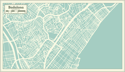 Badalona Spain City Map in Retro Style. Outline Map.
