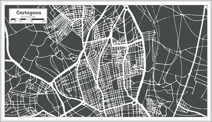 Cartagena Spain City Map in Retro Style. Outline Map.