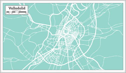 Valladolid Spain City Map in Retro Style. Outline Map.