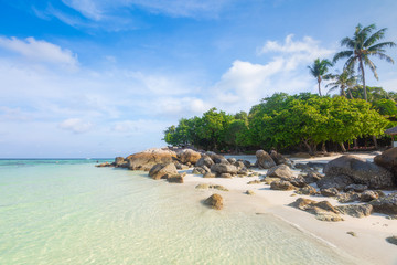 Beautiful tropical white sand and rock near the Serendipity Beach Resort at Lipe Island, Satun Province, Thailand.