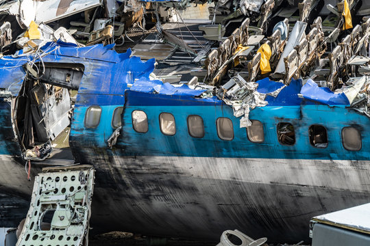 Fuselage of crashed 747 airplane after accident