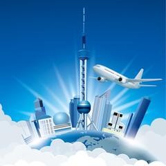 Cityscape on the Earth, Shanghai's landmark architecture - Oriental Pearl.Aircraft flight.