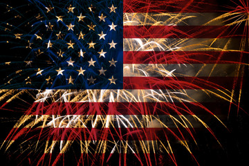 united states flag fireworks on night sky