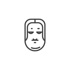 Ko omote mask outline icon. linear style sign for mobile concept and web design. Japanese Okame mask simple line vector icon. Symbol, logo illustration. Pixel perfect vector graphics