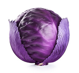 Purple cabbage isolated on white background.