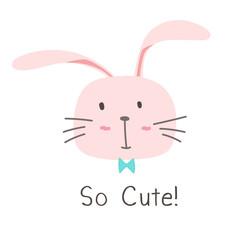 Little Bunny So Cute Background. Vector Illustration.