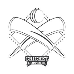 Cricket championship emblem in black and white vector illustration graphic design