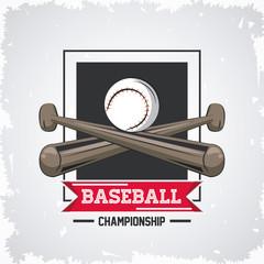 Baseball championship game emblem with equipment vector illustration graphic design