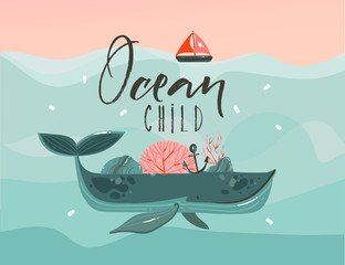 Hand drawn vector abstract cartoon summer time graphic illustrations art template print background with beauty whale in ocean waves,sail,sunset scene and Ocean Child quote isolated on blue background