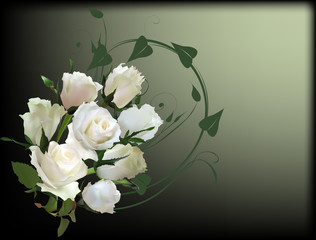white bunch from eight roses on dark background