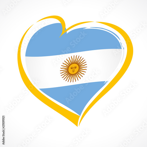 Love Argentina Emblem Independence Day Banner With Heart In