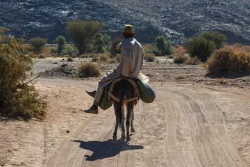 Photo sur Plexiglas Ane Old man riding a donkey in Morocco