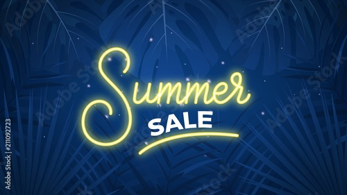 9d0fe8765 Summer sale. Tropical exotic palms background and neon Summer lettering for  seasonal sale